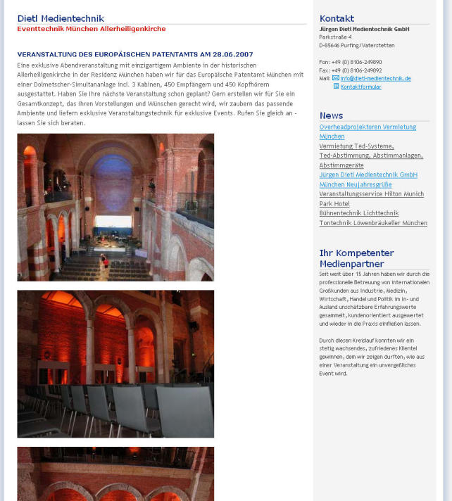 Jürgen Dietl Medientechnik: Veranstaltung in der Allerheiligenkirche
