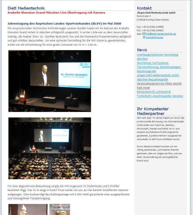 Jürgen Dietl Medientechnik GmbH: Jahrestagung des Bayrischen Landes-Sportverbandes (BLSV) im Mai 2008