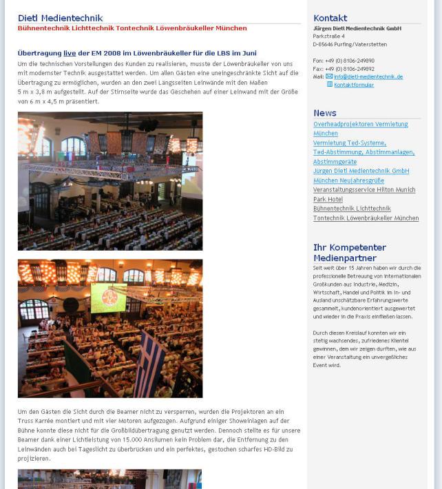 Jürgen Dietl Medientechnik GmbH: Übertragung live der EM 2008 im Löwenbräukeller für die LBS im Juni