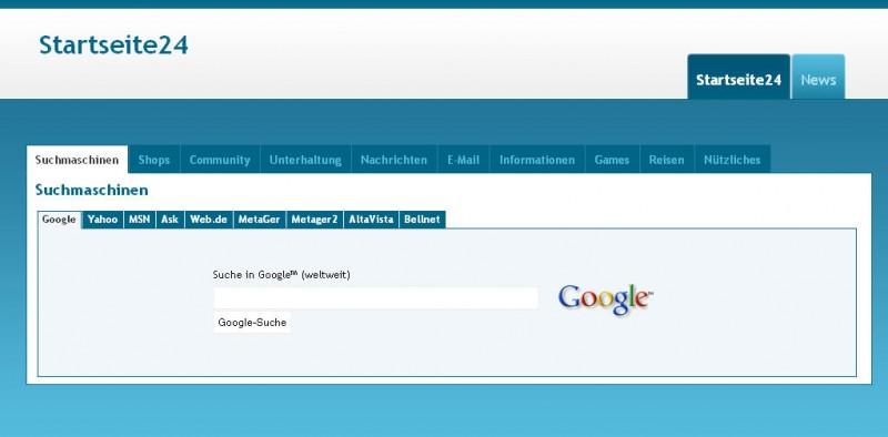 Der Internetauftritt von Startseite24.eu ist einfach, schlicht und besticht durch ein angenehmes Layout in blau und weiß